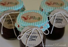 Homestead Revival: Recycled Canning Labels, cupcake liner as decorative canning jar topper.