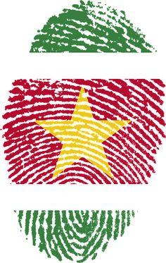 Suriname, Vlag, Vingerafdruk, Land, Trots, Identiteit