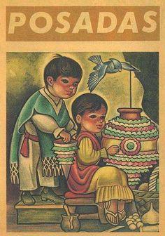 "cazadordementes: ""Posadas… #VintageMéxico"" Mexican Artists, Mexican Folk Art, Mexican Graphic Design, Latino Art, Aztec Culture, Mexican Christmas, Mexican Crafts, Christmas Drawing, Southwest Art"