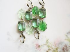 Greenery Vintage Rhinestone Earrings / Green by hollyglimmer
