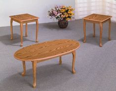 This set spells elegance at an affordable price! This is a 3 piece oak finish coffee set with a wood grain design. It's nice. This set has Queen Ann legs,. Wood Furniture Store, Luxury Home Furniture, Living Room Furniture, Living Room Decor, Furniture Ideas, Ikea Furniture, Office Furniture, Living Room Table Sets, Oval Coffee Tables