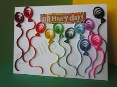 Quilled Balloons Birthday Card on Etsy, $5.00