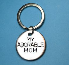 MOTHERS day, Adorable mom,Mom gift,Mom keyring, personalised mothers day gift, UK, handstamped keychain, gift for mom, gif for mother, mom