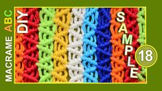 Macrame pattern sample 18. Simple and colorful pattern sample. You can use this sample to make a handbag or something else that you like. Macrame design elements for various useful macrame projects. See more patterns: http://www.youtube.com/playlist?list=PLvEwzzlTrsR-ZYluK40H-aqHr0JXeeIm1 #Macrame #patterns
