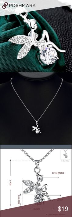 Rhinestone Silver Plated Tinkerbell Necklace Rhinestone Pendant Silver Plated Cute Tinkerbell Jewelry Fairy Angel Crystal Wings Necklace.  Material:Silver Plated& Crystal Rhinestone  Chain Length:18 inch Jewelry Necklaces