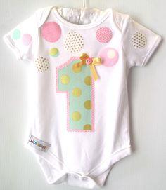Baby Girl 1st Birthday Confetti Onesie Pink Mint by LilBirdieShop