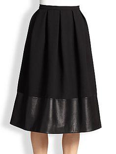 Christopher Kane Wool & Leather Princess Skirt $1725.00