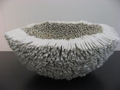 A favorite medium of mine is ceramic – porcelain can be translucent, stoneware can be chalky and strong, and some can be nearly paperlike and sculptural. The work of Thérèse Lebrun is just th… Ceramic Clay, Porcelain Ceramics, Ceramic Bowls, Ceramic Pottery, Sculptures Céramiques, Art Sculpture, Organic Sculpture, Ribbon Sculpture, Ceramic Sculptures