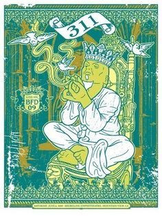 311 King Royalty Silk Screened Poster  Etsy by gigart on Etsy (Art & Collectibles, Prints, Screenprints, green, ornate, vintage, poster, music, robe, dove, jewelry, reggae, bird birds feather, king royalty crown, smoke pipe hands, space spaceship)