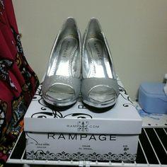 Rampage Peeptoe Silver Heel Platform heels 3 inches in height with platform Rampage Shoes Heels