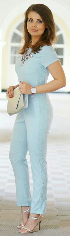 Misguided Pastel Baby Blue Jumpsuit / Fashion by A Piece of Anna