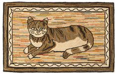 Antique Hooked Rug, Happy Cat, Early 20th Century, entire view