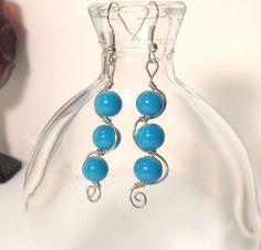 Blue Dangle Earrings, Boho Chic Earrings, Wire Wrap Earrings, Funky Jewelry, Trendy Jewelry
