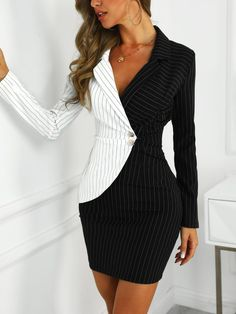 Contrast Color Striped Insert Blazer Dress We Miss Moda is a leading Women's Clothing Store. Offering the newest Fashion and Trending Styles. Trend Fashion, Look Fashion, Womens Fashion, Fashion Fashion, Runway Fashion, Mode Outfits, Dress Outfits, Fashion Dresses, Blazer Outfits