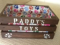 Personalised+Small+Wood+Dog+Cat+Pet+Toy/Treats/Grooming+Storage+Box/Crate.Brown
