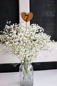 DIY Wedding • Table Number • Wooden Heart Table Centerpiece • Flower Mason Jar •…