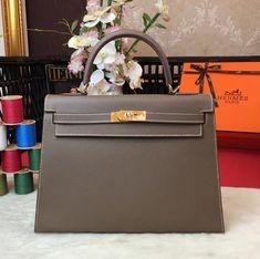 Hermes Kelly 32cm Original Epsom Leather Bag Dark Grey Hermes Bags 53791768e476e