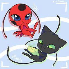 Tikki and Plagg from Miraculous Ladybug and Cat Noir Ladybug Y Cat Noir, Miraclous Ladybug, Noir Anime, Tikki Y Plagg, Pikachu, Pokemon, Complicated Love, Miraculous Ladybug Fan Art, Animation