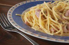 Klaar in 20 minuten, snel gemaakt en even snel opgegeten: klassieke spaghetti carbonara met room voor 2 hongerige personen.