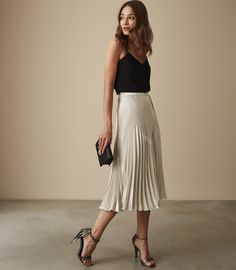 Isidora Knife Pleat Skirt - REISS : The isidora knife pleat skirt in plays its part in our iconic skirts collection and is available to buy online at REISS.
