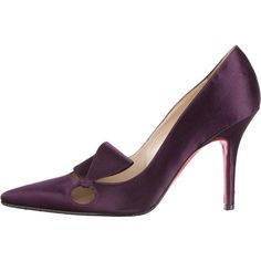 Pre-owned Christian Louboutin Satin Pointed-Toe Pumps ($225) ❤ liked on Polyvore featuring shoes, pumps, purple, pointy-toe pumps, purple satin pumps, satin shoes, purple pointed toe pumps and purple shoes