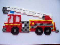 perler bead fire truck - Google Search