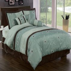 With Love Home Decor - Grand Park Aqua blue 11 Piece, The colors of this set are combination of powder blue and coffee with white and brown floral stitching. The color of the bed skirt is not as shown on the picture, the actual color is Aqua Blue.  100% Microfiber White Sheet Set
