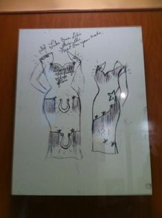 Patsy Cline exhibit-Country Music Hall of Fame - sketch by Patsy. She designed her early stagewear and her mother would make them.
