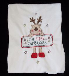 Miniwear White Red Velour Reindeer My First Christmas Baby Blanket   Miniwear My First Christmas 0b30895d0154