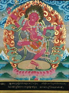 "Kurukulla, ""She who is the cause of knowledge."" Also known as Red Tara. She wields a bow and arrows made of flowers, as she is known as a goddess who can both create and destroy desires in others. She can be a love goddess, but more often a wrathful deity who teaches nonduality and egolessness."