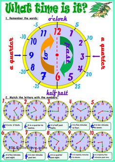 What time is it? worksheet - Free ESL printable worksheets made by teachers English Time, English Study, English Lessons, Learn English, English Vocabulary, English Grammar, English Language, Clock Worksheets, 1st Grade Worksheets