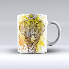 The Bright Orange Ethnic Elephant ink-Fuzed Ceramic Coffee Mug from DesignSkinz