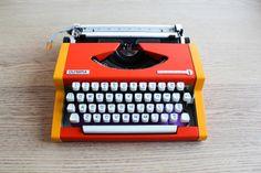 ORANGE & YELLOW Typewriter Olympia Traveller De Luxe by ElGranero