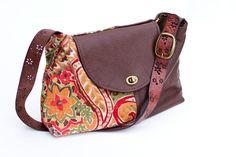 Handmade leather and fabric handbag