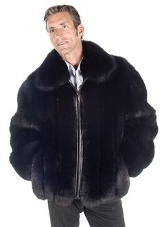 Rich and rugged is the look of this fabulous mens fox jacket. Full pelted black fox in a classic design of a zippered jacket will make you enjoy this winter Mens Winter Fashion Jackets, Winter Outfits Men, Outfit Winter, Winter Clothes, Fox Fur Jacket, Mens Fur, Gothic Steampunk, Steampunk Clothing, Victorian Gothic