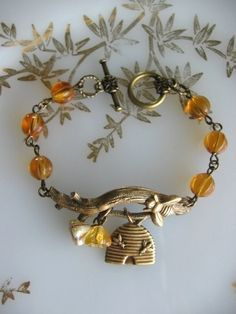 SALE Twig with Honey Bee Bracelet Out on a Limb by CharmedValley, $24.00