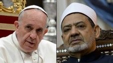 Upcoming historic first in May 2016 Meeting of Pope Francis photo at St. Peter's basilica at the Vatican, May 23, 2013, and Grand Imam of al-Azhar Sheikh Ahmed al-Tayeb (right) at the al-Azhar headquarters in Cairo, October 11, 2015. (AFP/Filippo Monteforte and Kenzo Tribouillard, File photos)