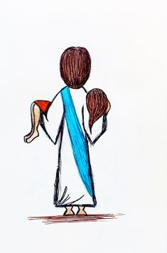Jesus Carrying Girl individual greeting card of