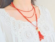 LONG TASSLE NECKLACE multi layer necklace two by SoophieAccessory