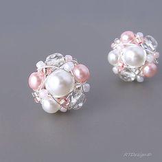 RTDesign / Náušničky WHITE Beads, Earrings, Pink, Handmade, Wedding, Jewelry, Accessories, Beading, Ear Rings