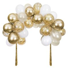 White Balloons, Confetti Balloons, Gold Confetti, Balloon Garland, Balloon Arch, Golden Birthday Parties, Gold Birthday Party, Birthday Balloons, 21st Party