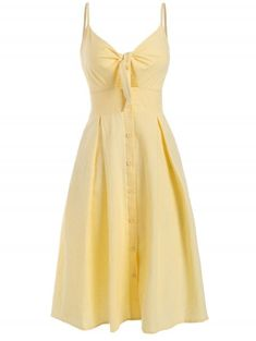 Buttoned sheath dress to tie at the front - Yellow M Cute Clothes For Women, Casual Dresses For Women, Dresses For Sale, Nice Dresses, Summer Dresses, Sun Dresses, Yellow Dress Casual, Yellow Dress Summer, Button Front Dress