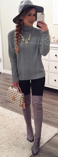 #outfits #fall #fashion Grey Sweater // Necklace // Clutch // Skinny Jeans // Suede Over-the-knee Boots // Grey Hat