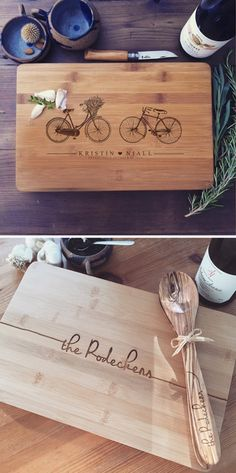 The best gifts have a personal touch ♡ Custom engraved cutting boards and coasters from Wood Be Mine