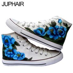 64.88$  Watch now - http://alikrt.worldwells.pw/go.php?t=32587139506 - JUP Men Female Student Girls Couples Peony Flower Princess Rabbit  Angel Wings Hand Painted Graffiti Canvas Fashion Gift  Shoes 64.88$