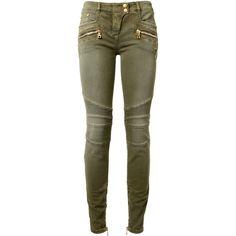 Balmain Khaki Stretch Cotton Biker Jeans (60.260 RUB) ❤ liked on Polyvore featuring jeans, khaki skinny jeans, 5 pocket jeans, skinny jeans, zipper jeans and brown jeans