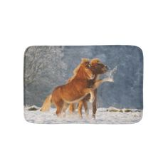 Icelandic Horses Foal Playing in Snow - Bath Mat