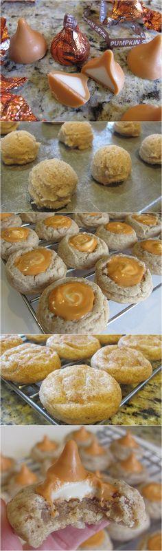 Pumpkin Spice Kiss Cookies... link for the recipe:    http://inspiredreamer.com/pumpkin-spice-kiss-cookie/
