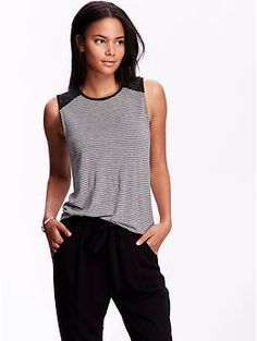 Womens Lace-Shoulder Sleeveless Tops