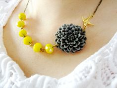 Grey Flower Necklace,Yellow Jewelry,Bridesmaid Necklace,Crystal Jewelry,Spring Jewelry,Wedding Jewelry (Free matching earrings). $32.00, via Etsy.